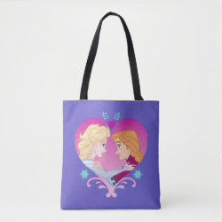 Disney Princesses Anna & Elsa in Heart All-Over-Print Tote Bag, Medium