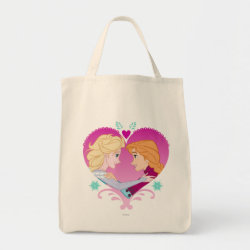 Grocery Tote with Disney Princesses Anna & Elsa in Heart design