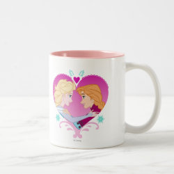 Two-Tone Mug with Disney Princesses Anna & Elsa in Heart design