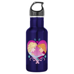 Water Bottle (24 oz) with Disney Princesses Anna & Elsa in Heart design