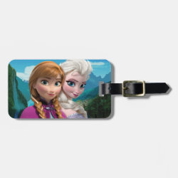 Small Luggage Tag with leather strap with Frozen's Anna & Elsa design