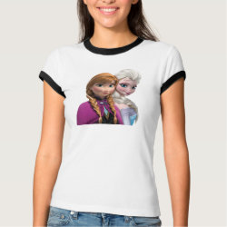 Ladies Ringer T-Shirt with Frozen's Anna & Elsa design