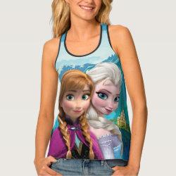 Women's All-Over Print Racerback Tank Top with Frozen's Anna & Elsa design