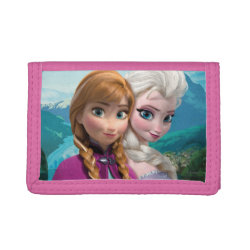 TriFold Nylon Wallet with Frozen's Anna & Elsa design