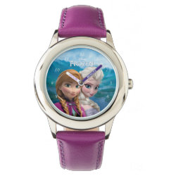 Kid's Stainless Steel Purple Leather Strap Watch with Frozen's Anna & Elsa design