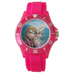 Women's Sporty Pink Silicon Watch with Frozen's Anna & Elsa design