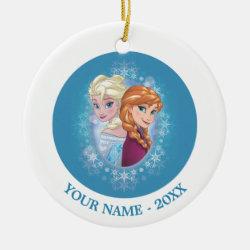 Circle Ornament with Elsa and Anna Together design