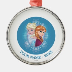 Anna and Elsa | Winter Magic Add Your Name Metal Ornament