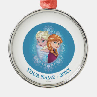 Anna and Elsa   Winter Magic Add Your Name Metal Ornament