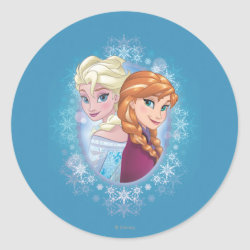 Round Sticker with Elsa and Anna Together design