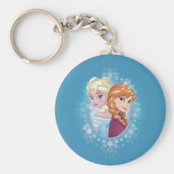 Basic Button Keychain with Elsa and Anna Together design