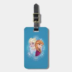 Small Luggage Tag with leather strap with Elsa and Anna Together design