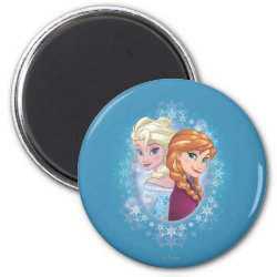 Round Magnet with Elsa and Anna Together design