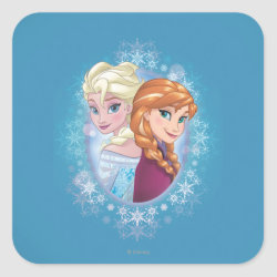 Square Sticker with Elsa and Anna Together design