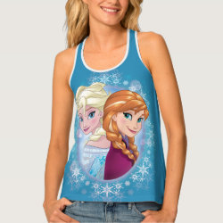 Women's All-Over Print Racerback Tank Top with Elsa and Anna Together design