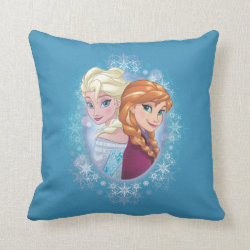 Cotton Throw Pillow with Elsa and Anna Together design