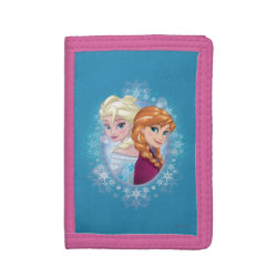 TriFold Nylon Wallet with Elsa and Anna Together design