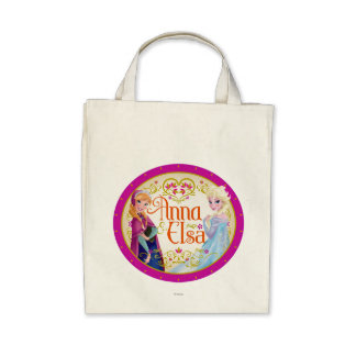 Anna and Elsa with Floral Frame Tote Bags