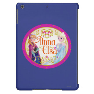 Anna and Elsa with Floral Frame Cover For iPad Air