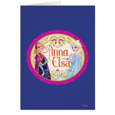 Anna and Elsa with Floral Frame Greeting Card