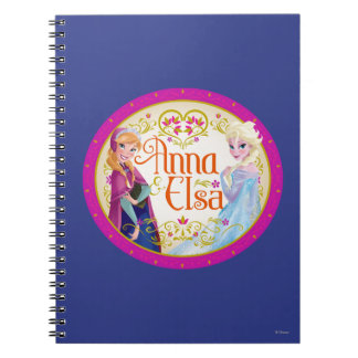 Anna and Elsa with Floral Frame Spiral Note Book