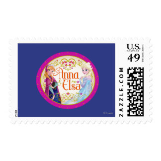 Anna and Elsa with Floral Frame Postage