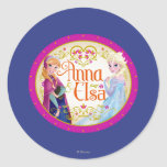 Anna and Elsa with Floral Frame Round Sticker