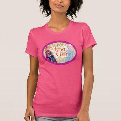 Women's American Apparel Fine Jersey Short Sleeve T-Shirt with Anna & Elsa Floral Design design