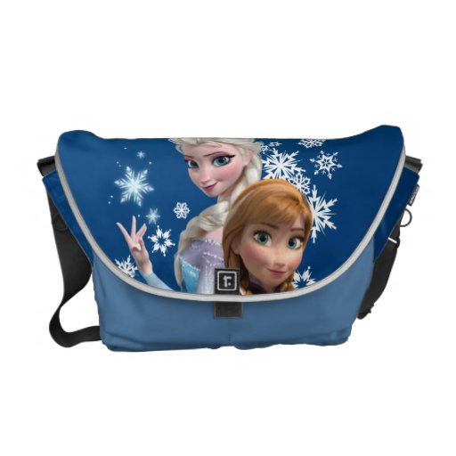 Anna and Elsa with Snowflakes Messenger Bags