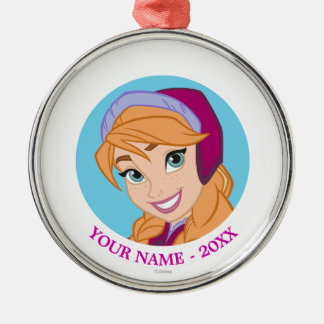 Anna | Face Icon Add Your Name Metal Ornament