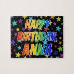 "[ Thumbnail: ""Anna"" First Name, Fun ""Happy Birthday"" Jigsaw Puzzle ]"