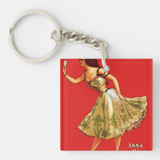 Anna Held Double-Sided Square Acrylic Keychain