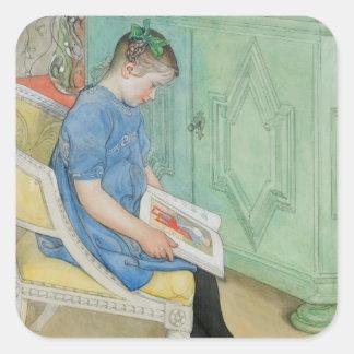 Anna Johanna Reading a Book Square Sticker