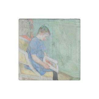 Anna Johanna Reading a Book Stone Magnet