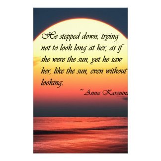 Anna Karenina Saw Her Like the Sun Love Quote Stationery Paper