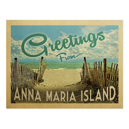 Anna Maria Island Beach Vintage Travel Postcard