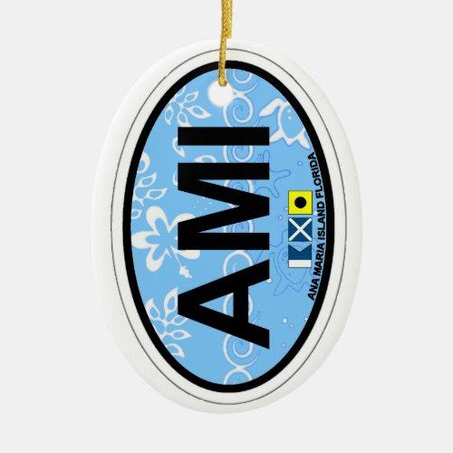 Anna Maria Island _ Oval Design Ceramic Ornament