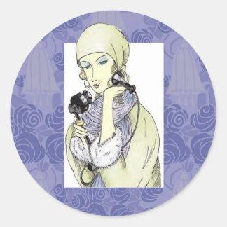 Anna on the telephone classic round sticker