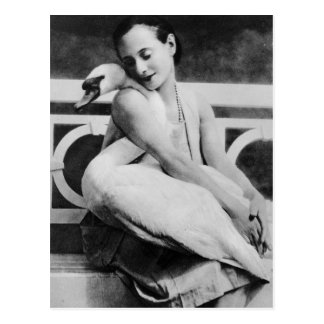 Anna Pavlova with her pet swan Jack, c.1905 Postcard