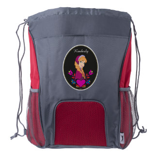 Anna | Portrait in Black Circle Drawstring Backpack
