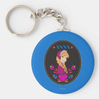 Anna | Portrait in Black Circle Keychain