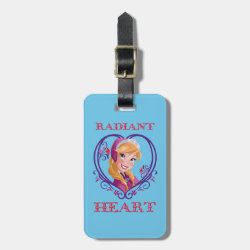 Small Luggage Tag with leather strap with Anna of Disney's Frozen: Radiant Heart design