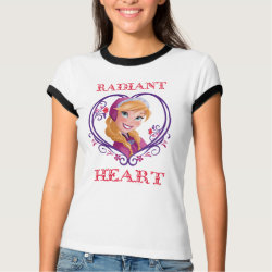 Ladies Ringer T-Shirt with Anna of Disney's Frozen: Radiant Heart design