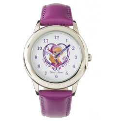Kid's Stainless Steel Purple Leather Strap Watch with Anna of Disney's Frozen: Radiant Heart design