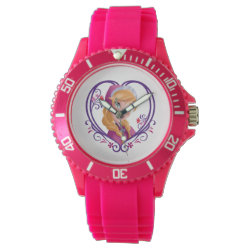 Women's Sporty Pink Silicon Watch with Anna of Disney's Frozen: Radiant Heart design