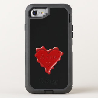 Anna. Red heart wax seal with name Anna OtterBox Defender iPhone 7 Case