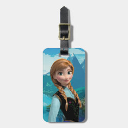 Small Luggage Tag with leather strap with Disney's Frozen Anna design