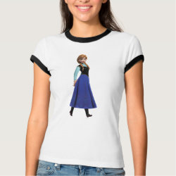 Ladies Ringer T-Shirt with Disney's Frozen Anna design