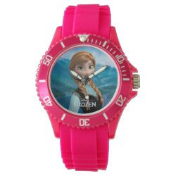 Women's Sporty Pink Silicon Watch with Disney's Frozen Anna design