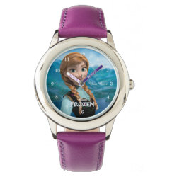 Kid's Stainless Steel Purple Leather Strap Watch with Disney's Frozen Anna design